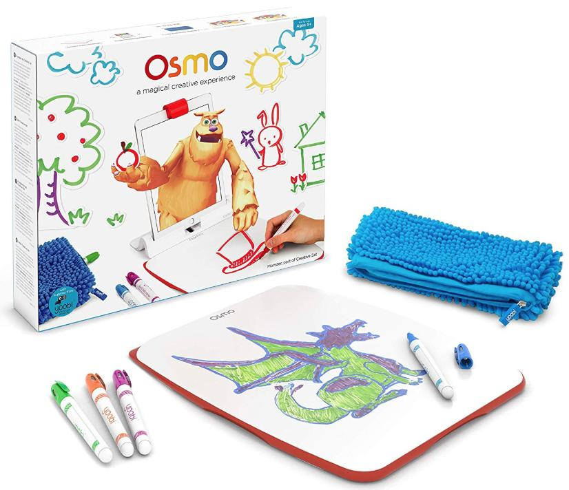 The Osmo Creative Kit with an eraser board, markers, and wiping cloth is shown in front of the box.
