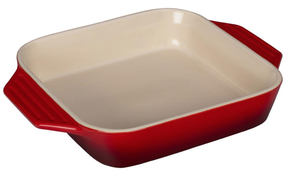 A red and white square baking dish.