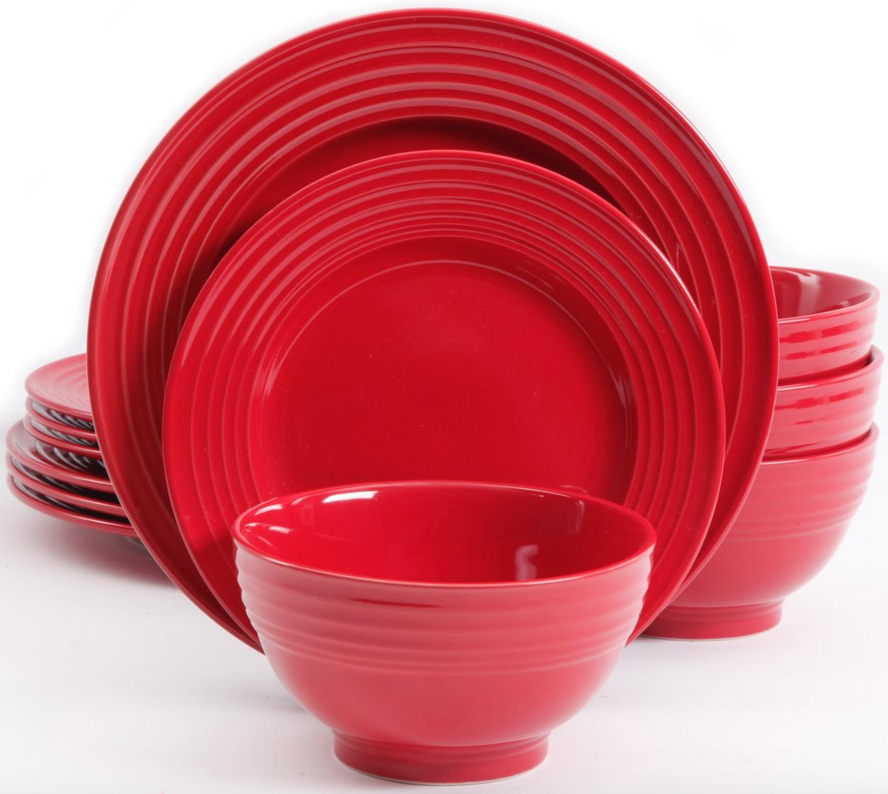 A set of red plates and bowls.