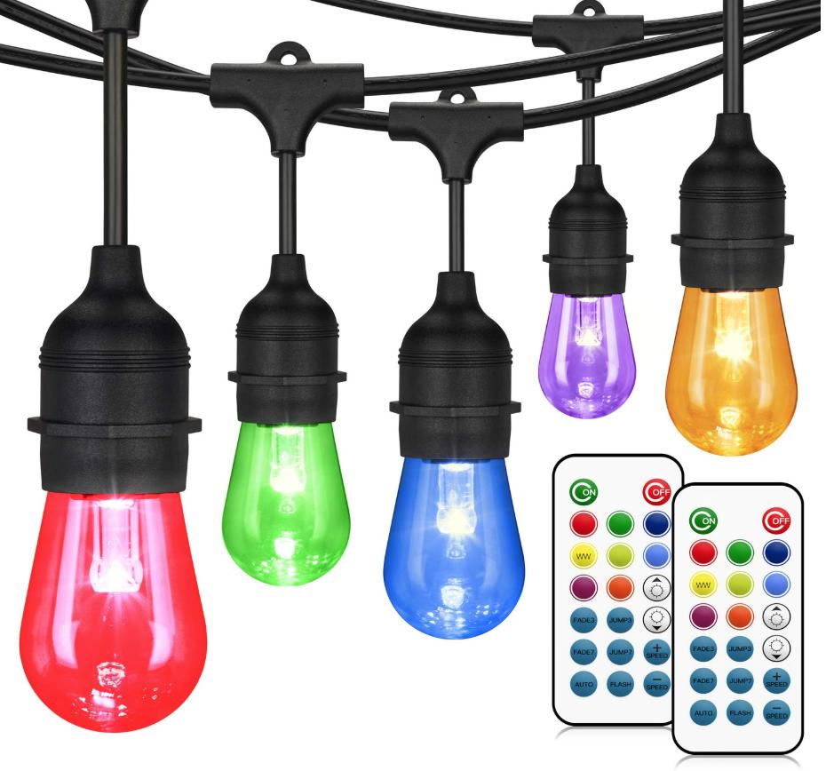 A string of colored lights with two remote controls under them.