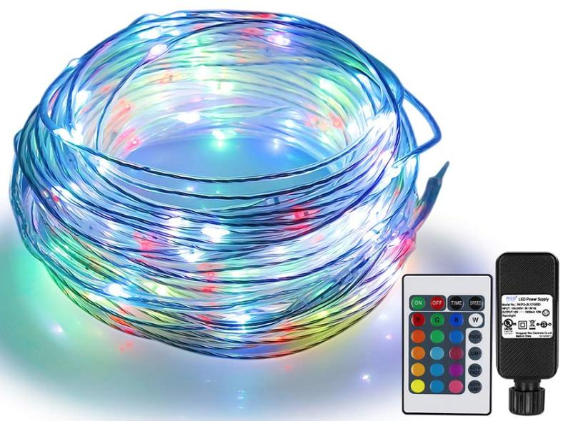 A rope light in multiple colors is shown with a remote control sitting next to it.