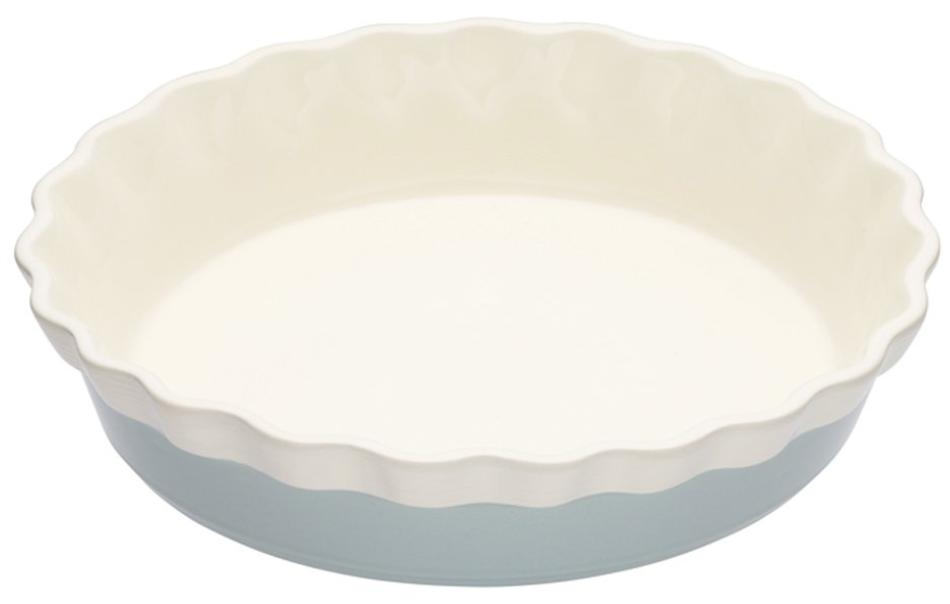 A white and pale blue ceramic pie dish.