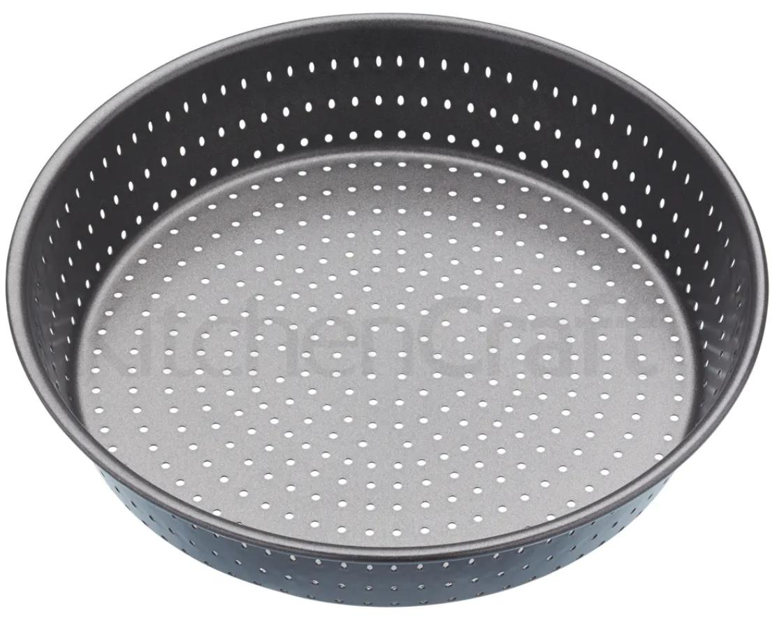 A perforated deep pie dish.