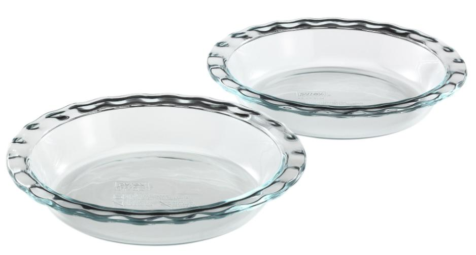 A pair of clear Pyrex pie plates.