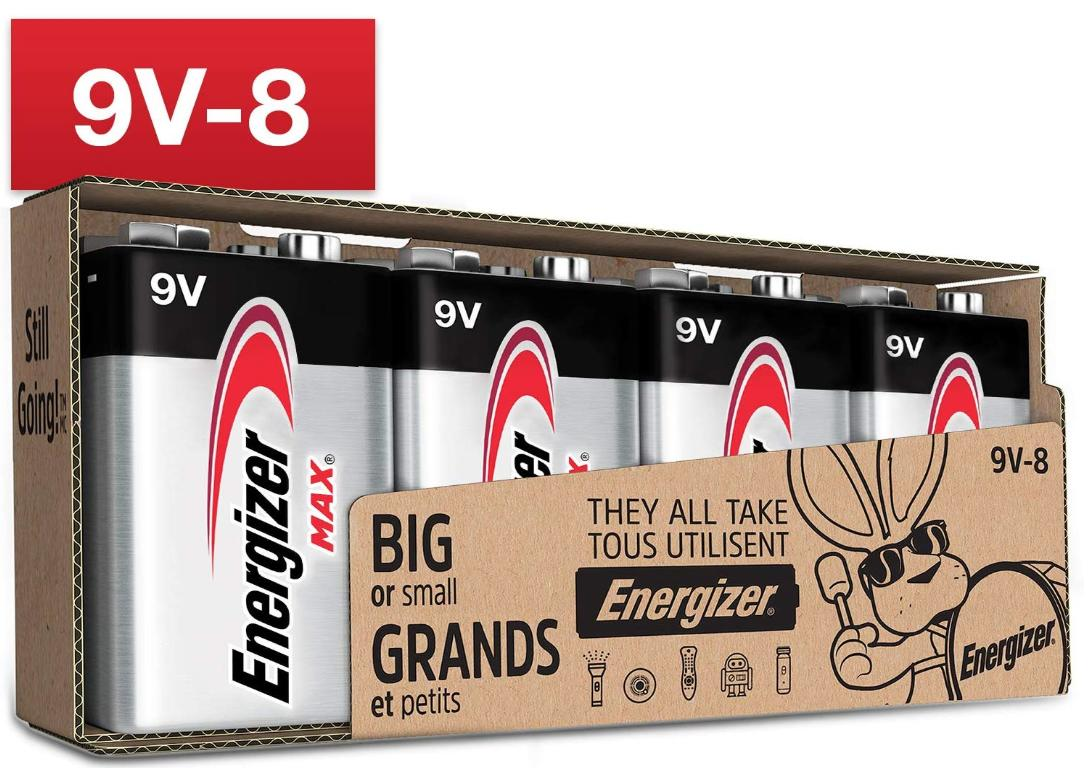 A pack of Energizer Max 9V batteries