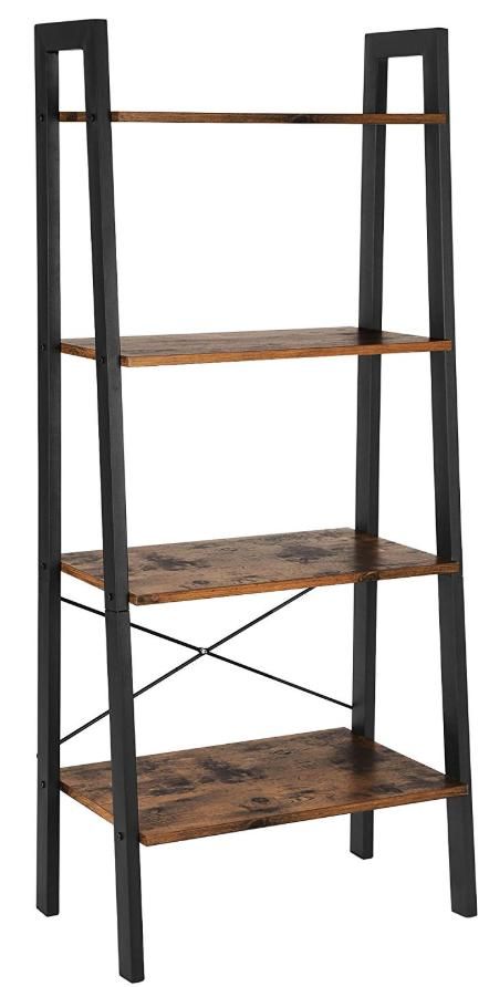 A bookshelf constructed to look like a ladder with wood shelves and metal struts.