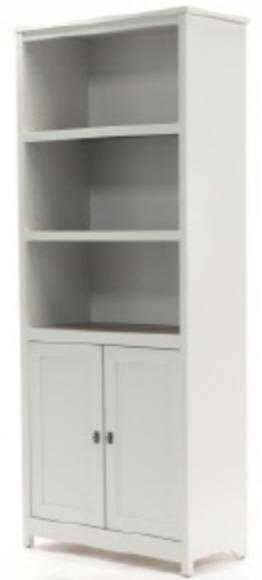 A white bookshelf with shelves on top and shuttered doors on the bottom.