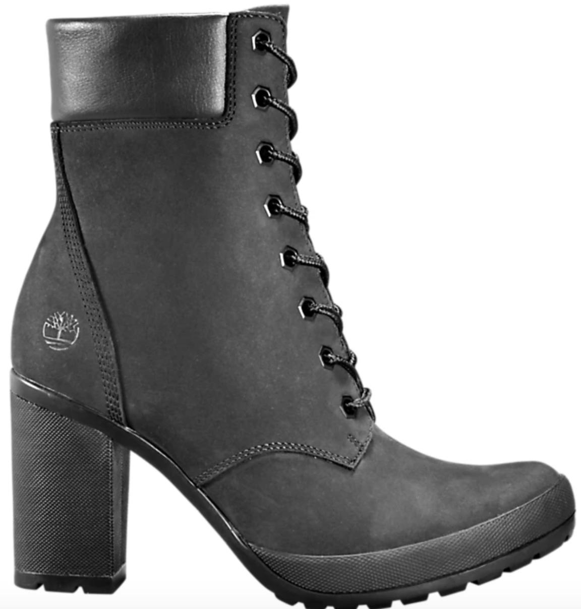 A black on black ankle boot.
