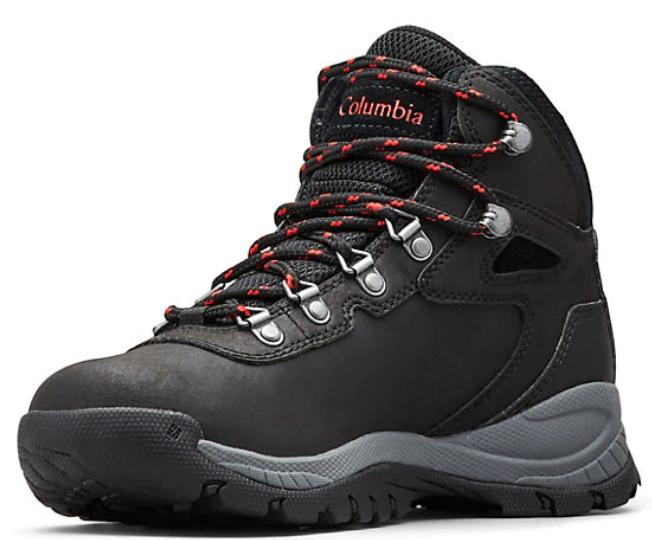 A black, grey and red toned hiking boot.
