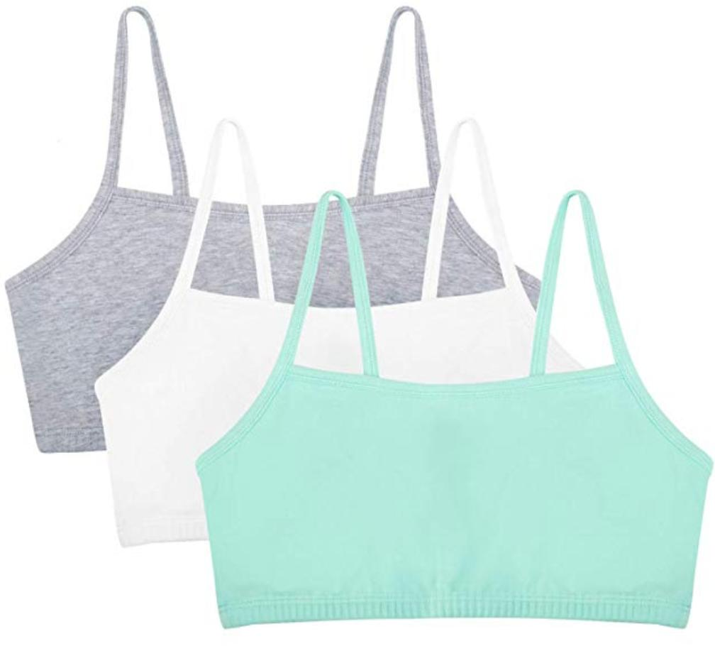 A three pack of strappy sports bras.
