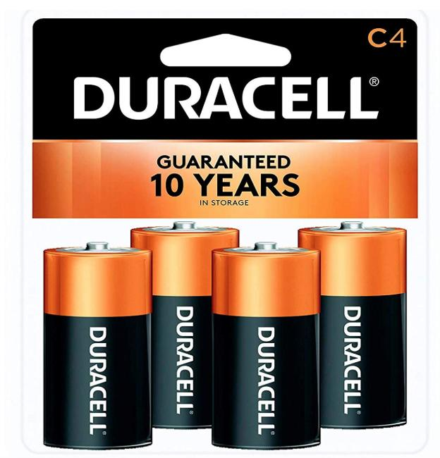A 4 pack of Duracell C batteries