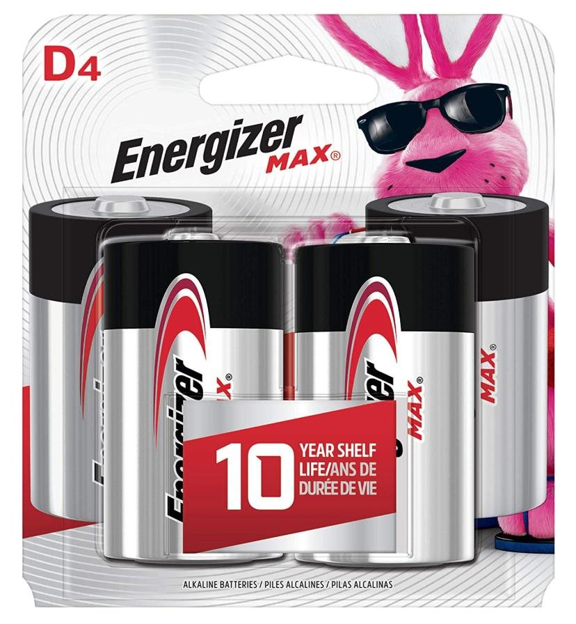 a 4-pack of Energizer Max D batteries