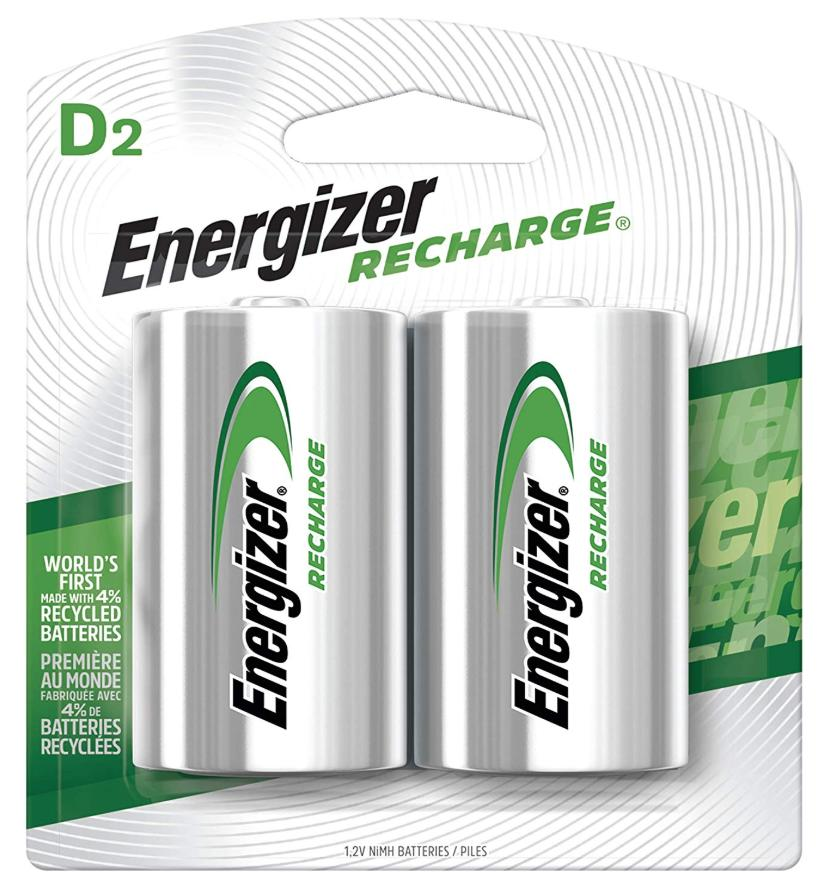 A 2-pack of Energizer rechargeable batteries