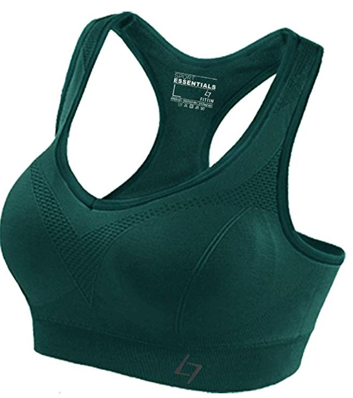 A green racerback sports bra