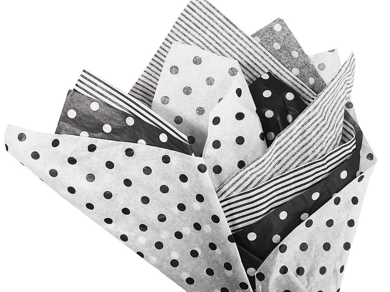 Tissue paper in black and white with polka dots and stripes