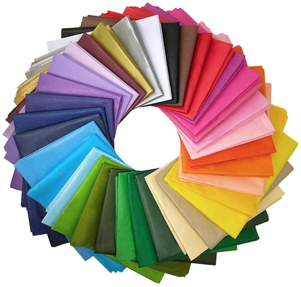 Tissue paper in every color of the rainbow.