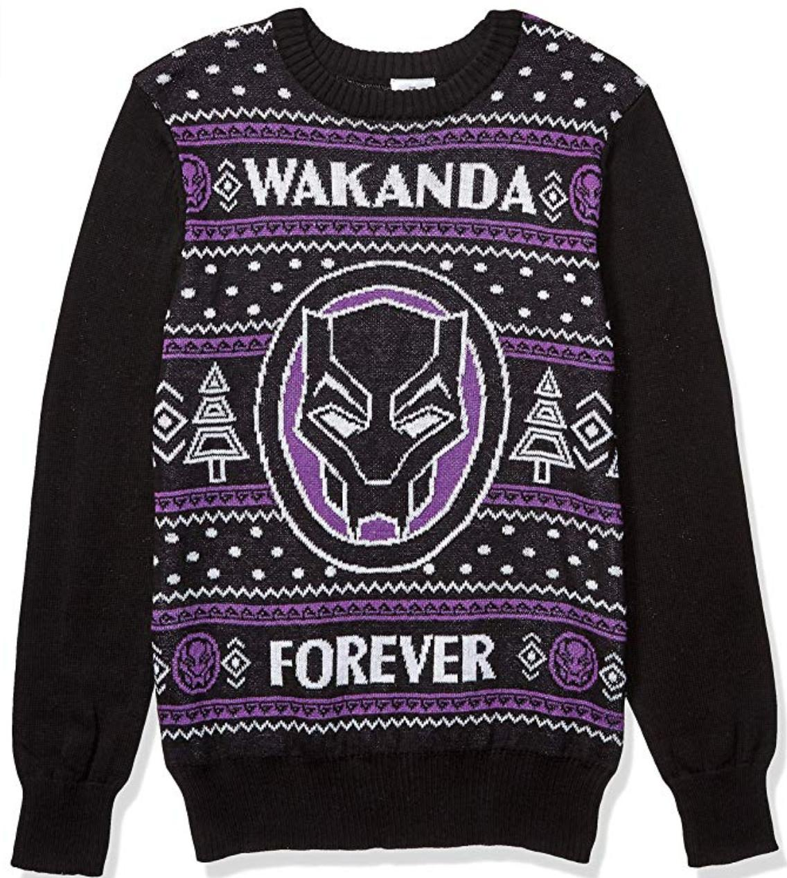 A purple and black ugly sweater featuring black panther.