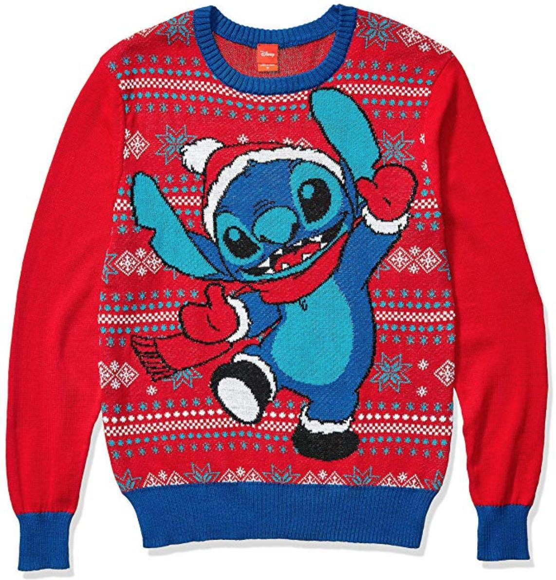 Stitch in mittens and a hat dances against a red and blue background.