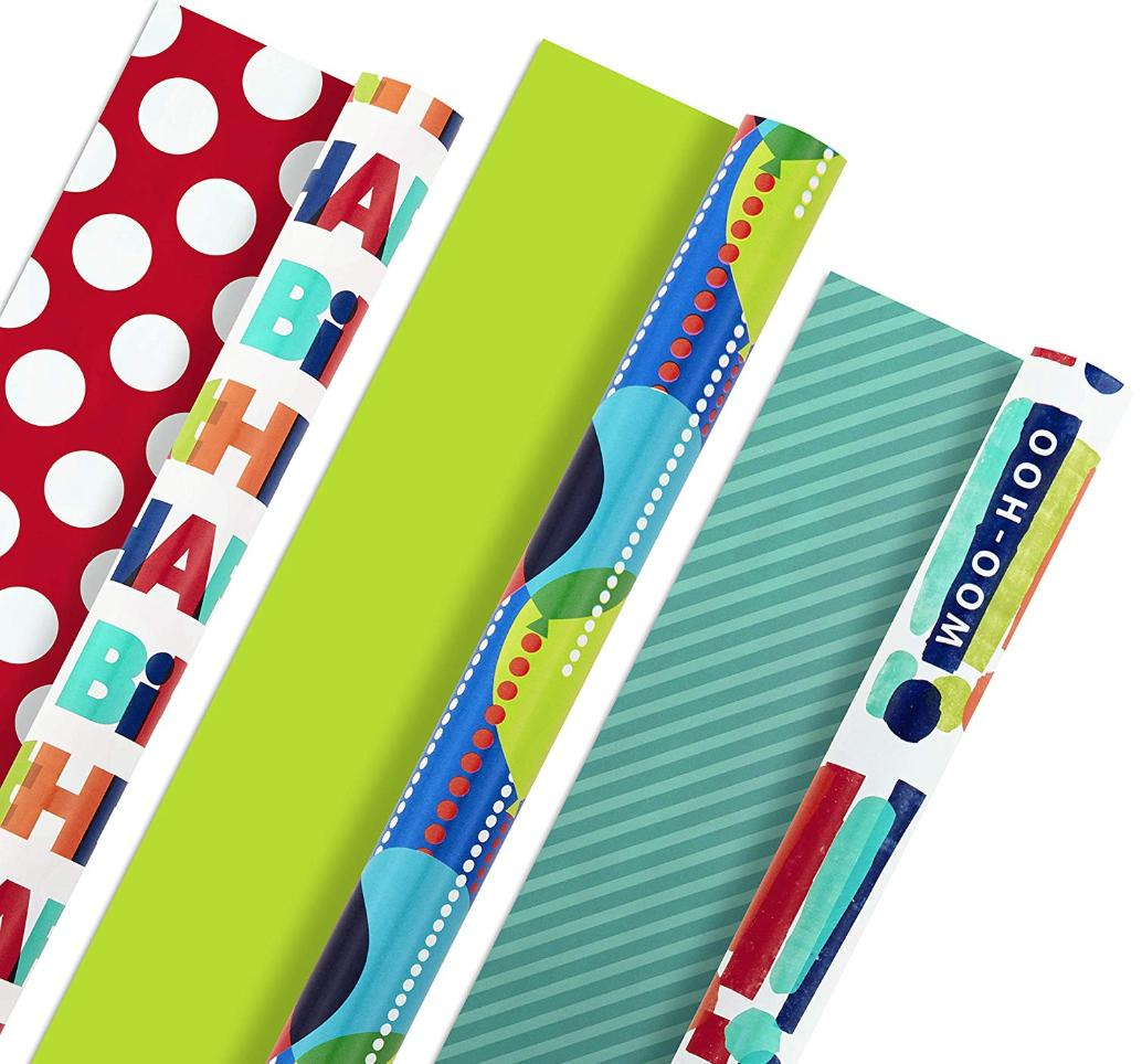 Reversible happy birthday wrapping paper