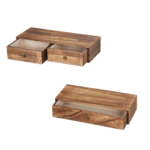 Floating shelves with drawers
