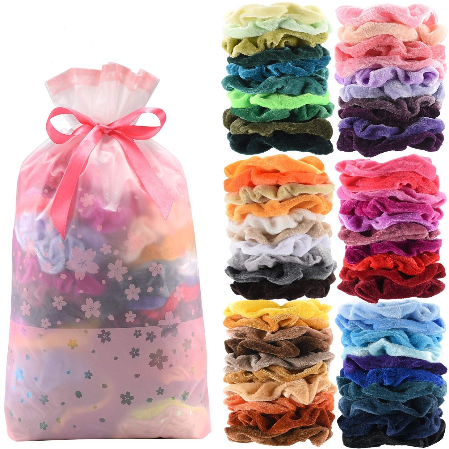 velvet scrunchies set of 2 in a choice of bright colour new