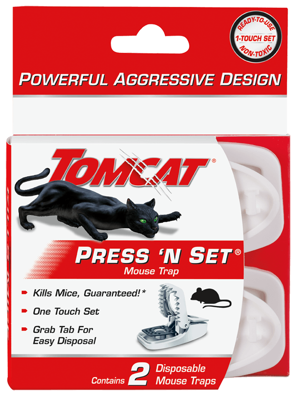Tomcat 2-Pack Press 'N Set Disposable Mouse Trap Set