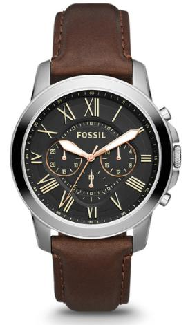 Fossil Men's Grant Stainless Steel and Leather Chronograph Watch