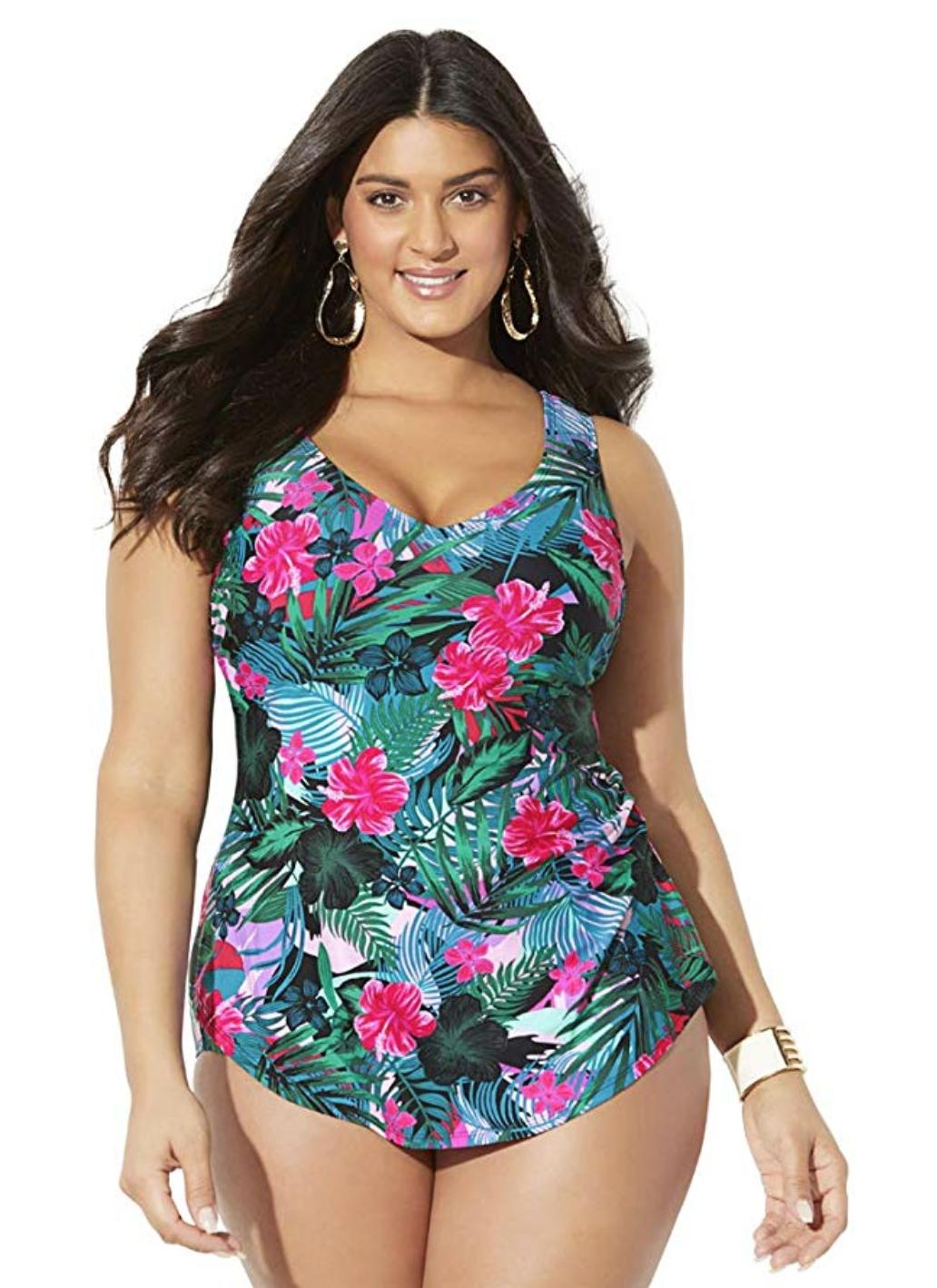 Swimsuits For All Sarong Front One Piece
