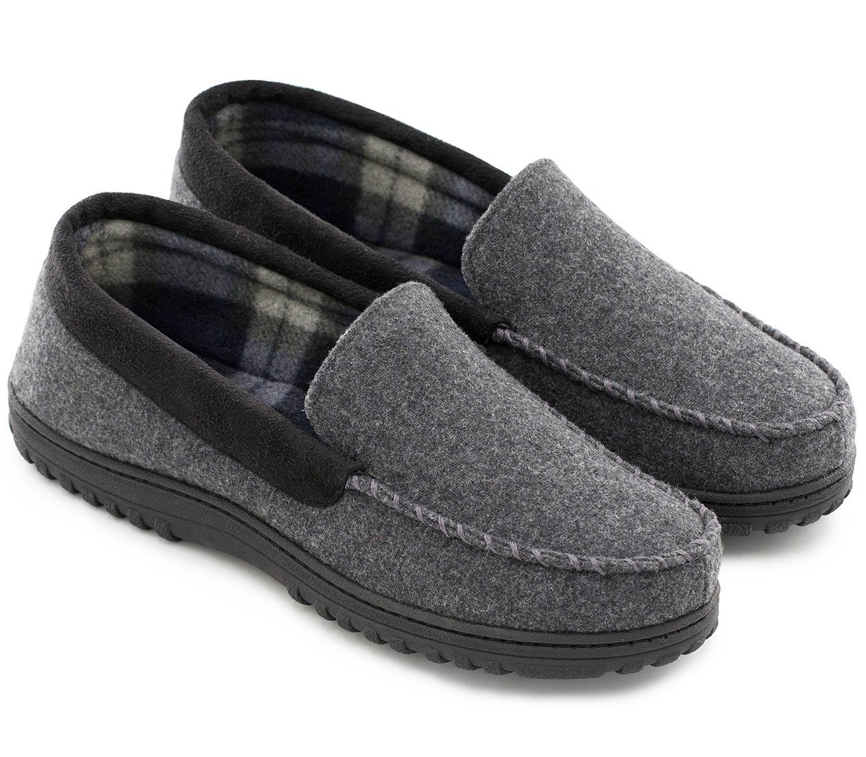 HomeTop Men's Wool And Microsuede Moccasin Slippers