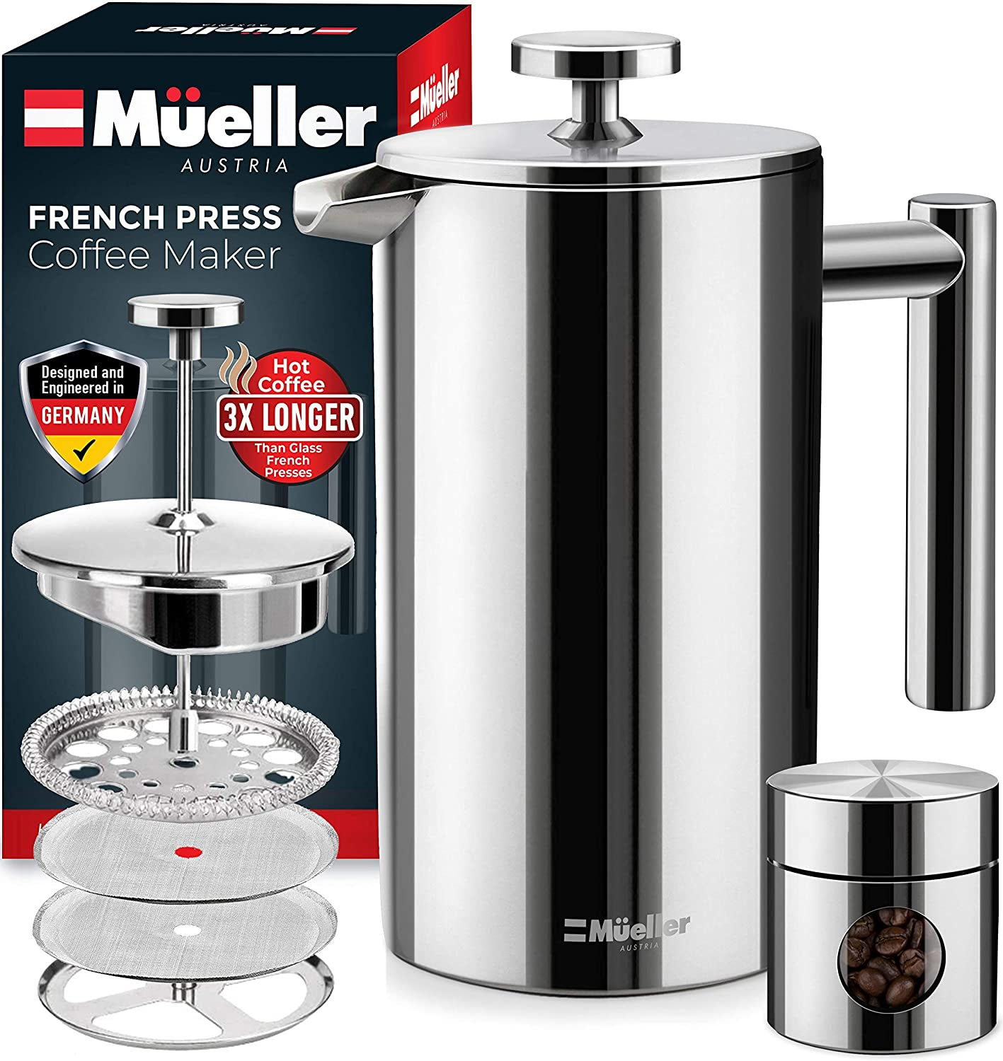 Mueller Double Insulated French Press Coffee Maker