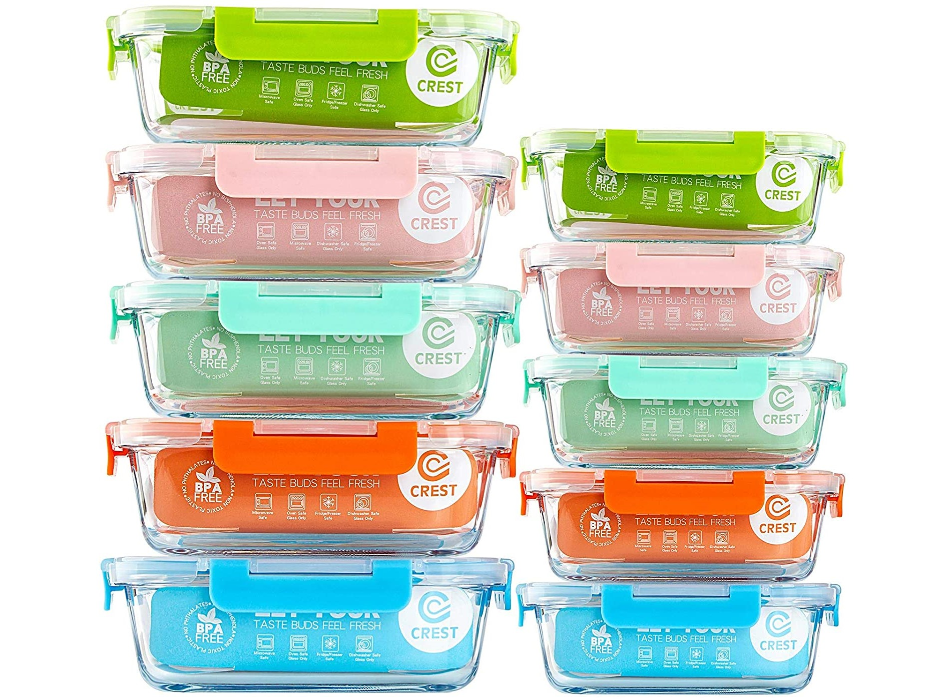 Crest 10pc Glass Meal Prep Containers