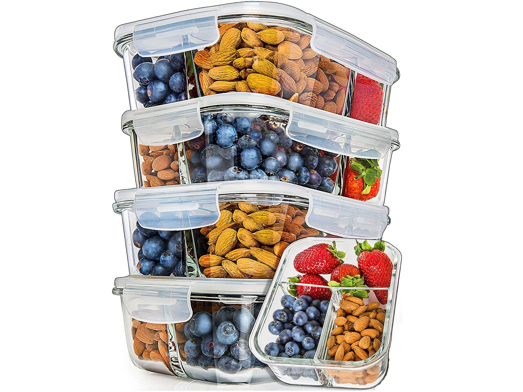 Prep Naturals Glass Compartment Meal Prep Container