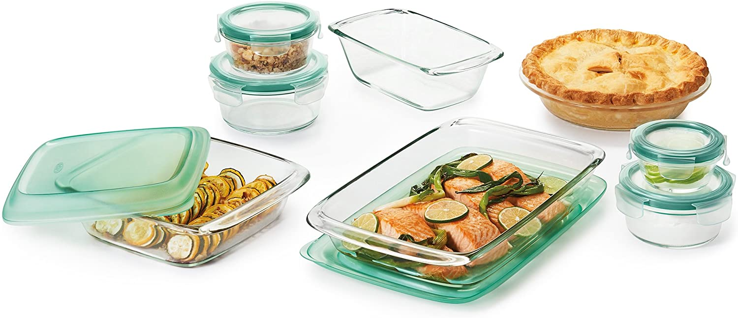 Oxo Good Grips 14 Piece Freezer To Oven Glass Bakeware And Food Storage Set Render