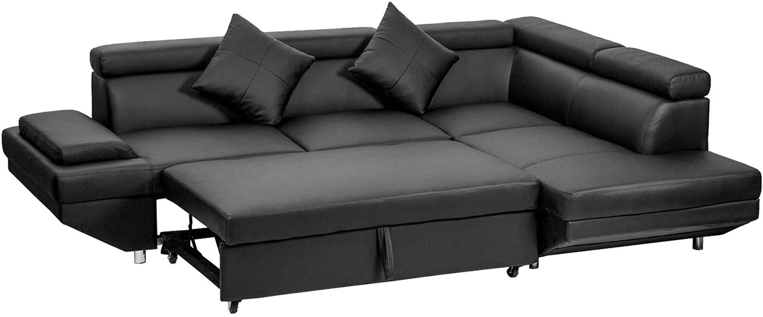 Fdw Faux Leather Sectional Sleeper Sofa Right Render