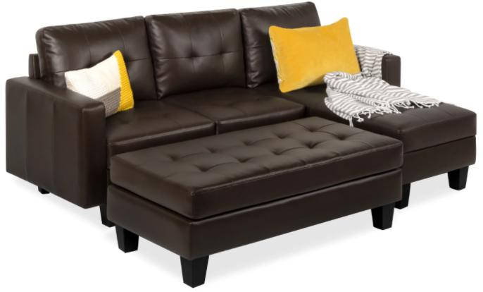 Best Choice Products Tufted Faux Leather Sectional Sofa Render
