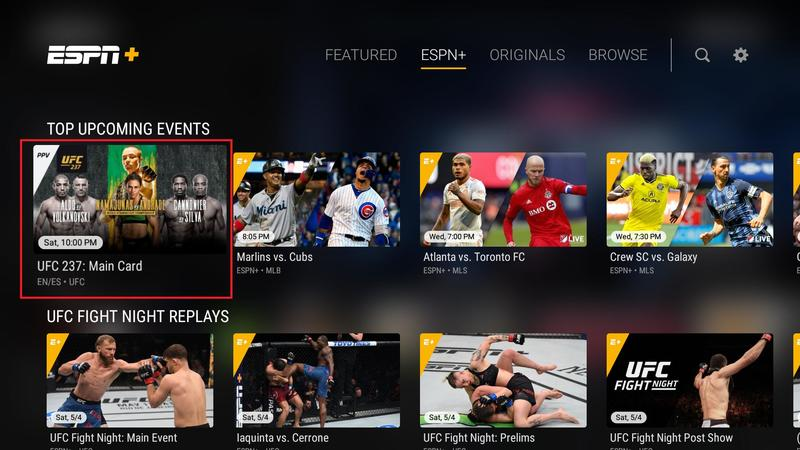 UFC Pay Per View events can now be purchased in the ESPN TV