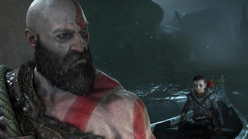 Kratos and Atreus spend time in a boat.