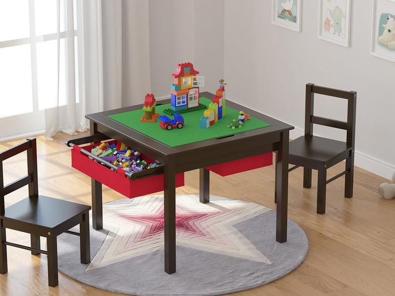 Lego Table With Chairs Off 57, Wooden Lego Table With 3 Chairs