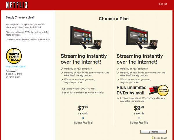 Netflix streaming plan selection