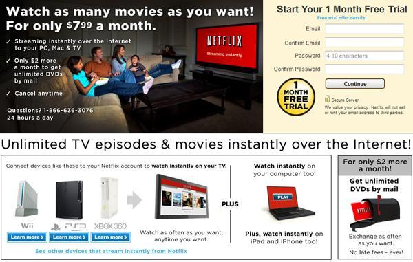 Netflix streaming subscription ad