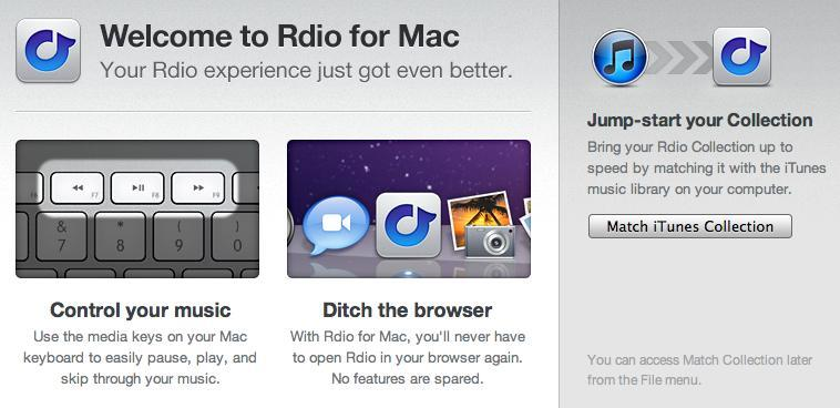 Rdio Launches Mac OS X App
