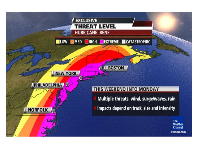Hurricane Irene threat levels