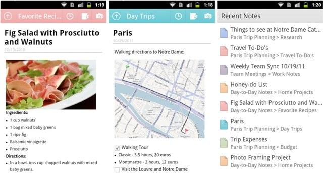 OneNote for Android screens