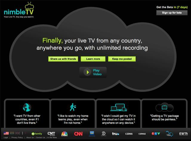 Nimble TV front page