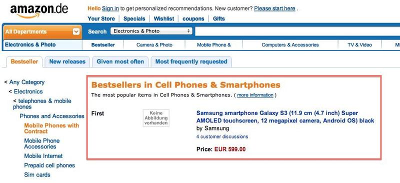 Galaxy S III bestselling Amazon