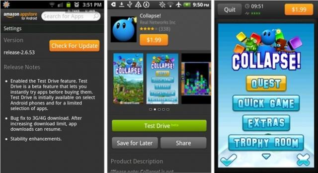 Amazon Appstore Test Drive on Android