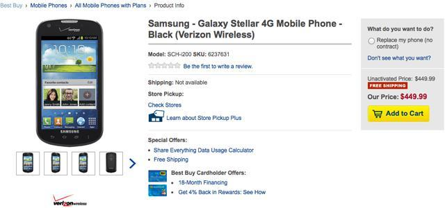 Galaxy Stellar Best Buy listing