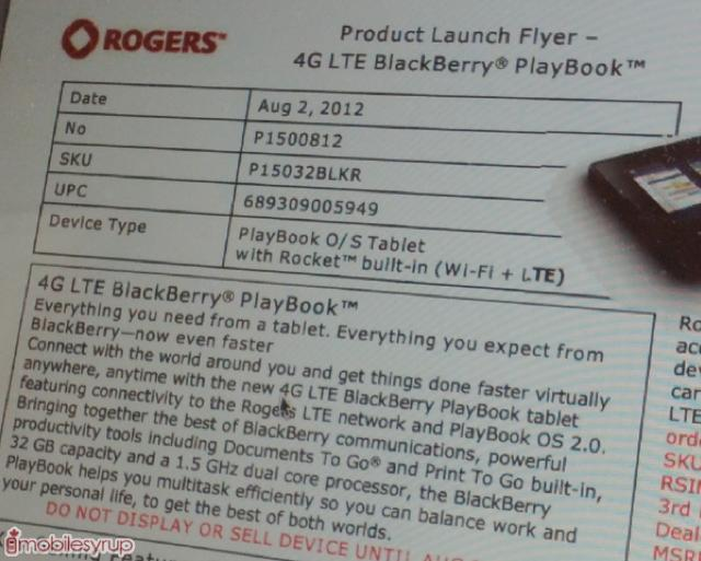 Rogers LTE PlayBook pricing