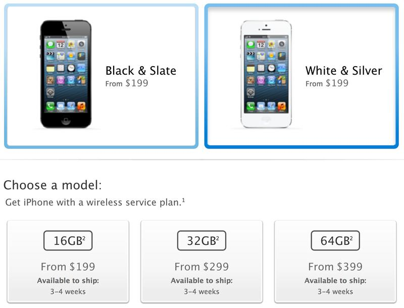 iPhone 5 shipping 3-4 weeks