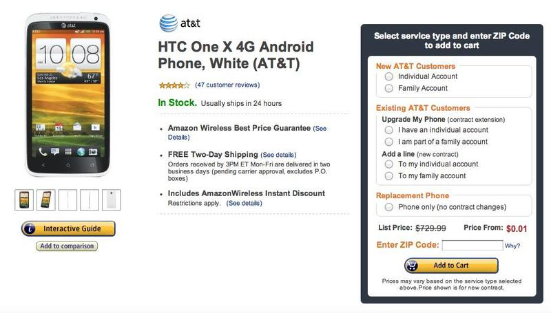 AT& HTC One X Sale Amazon